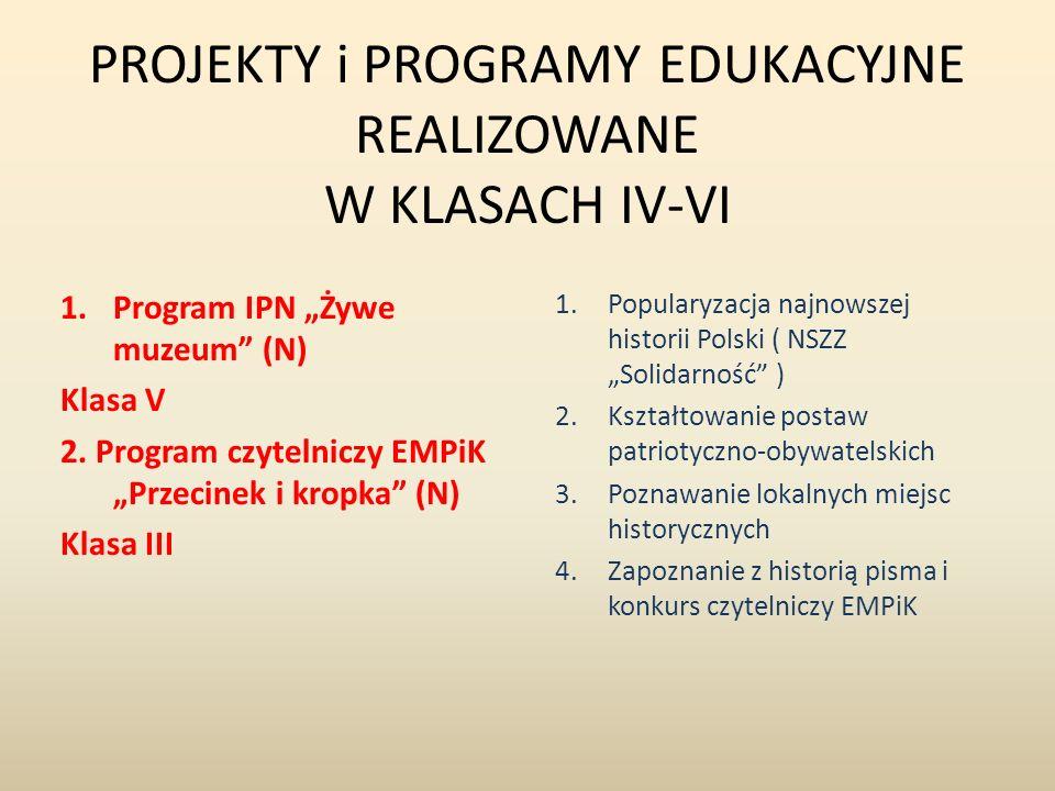 """PROJEKTY i PROGRAMY EDUKACYJNE REALIZOWANE W KLASACH IV-VI 1.Program IPN """"Żywe muzeum"""" (N) Klasa V 2. Program czytelniczy EMPiK """"Przecinek i kropka"""" ("""
