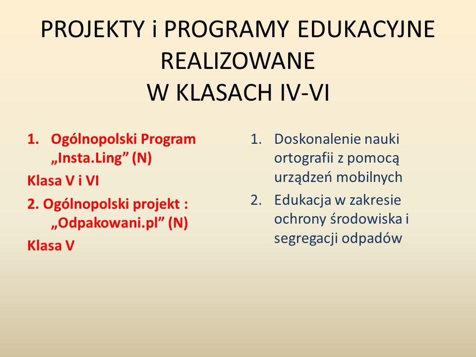 """PROJEKTY i PROGRAMY EDUKACYJNE REALIZOWANE W KLASACH IV-VI 1.Ogólnopolski Program """"Insta.Ling"""" (N) Klasa V i VI 2. Ogólnopolski projekt : """"Odpakowani."""
