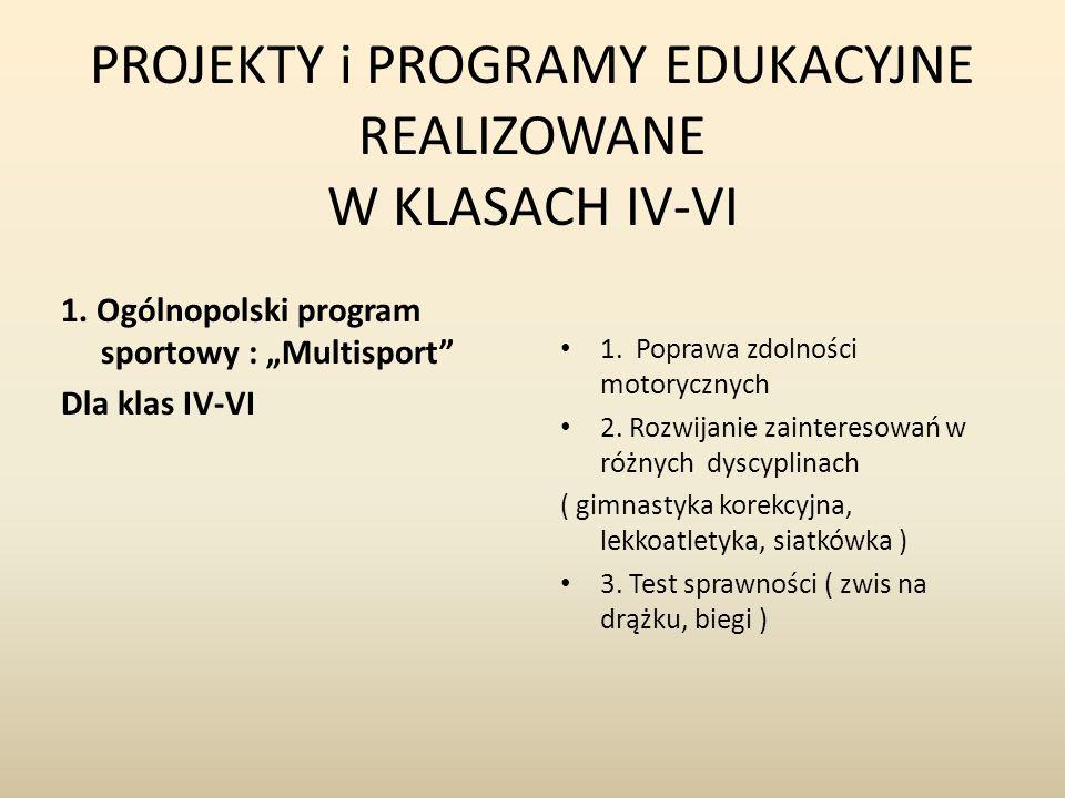 """PROJEKTY i PROGRAMY EDUKACYJNE REALIZOWANE W KLASACH IV-VI 1. Ogólnopolski program sportowy : """"Multisport"""" Dla klas IV-VI 1. Poprawa zdolności motoryc"""