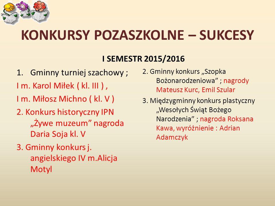 KONKURSY POZASZKOLNE – SUKCESY I SEMESTR 2015/2016 1.Gminny turniej szachowy ; I m.