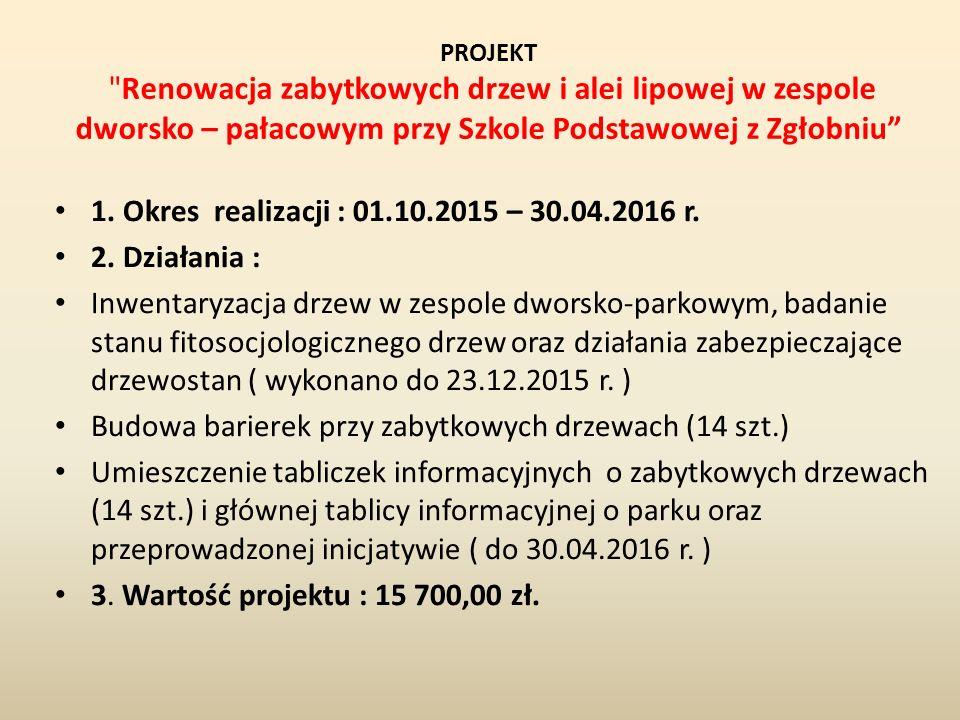 PROJEKT Renowacja zabytkowych drzew i alei lipowej w zespole dworsko – pałacowym przy Szkole Podstawowej z Zgłobniu 1.