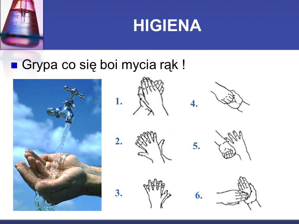 HIGIENA Grypa co się boi mycia rąk ! 1. 2. 3. 6. 5. 4.