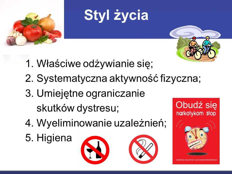 Styl życia 1. Właściwe odżywianie się; 2. Systematyczna aktywność fizyczna; 3.