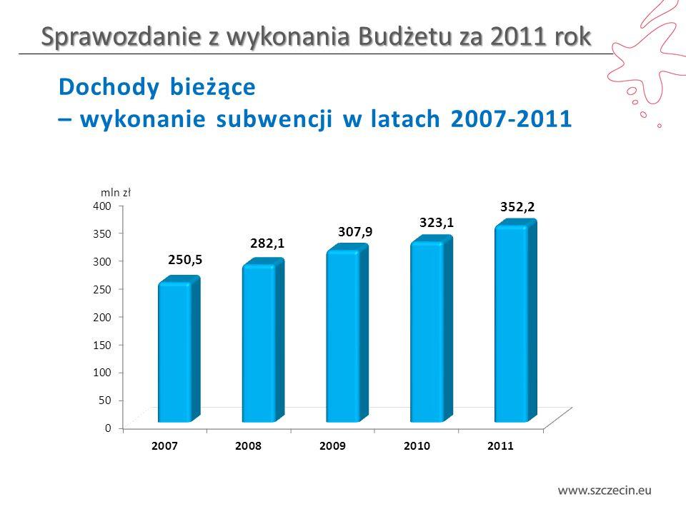 Sprawozdanie z wykonania Budżetu za 2011 rok Dochody bieżące – wykonanie subwencji w latach 2007-2011