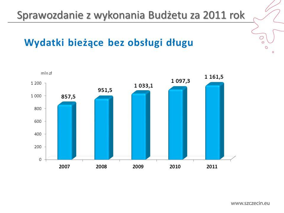 Sprawozdanie z wykonania Budżetu za 2011 rok Wydatki bieżące bez obsługi długu