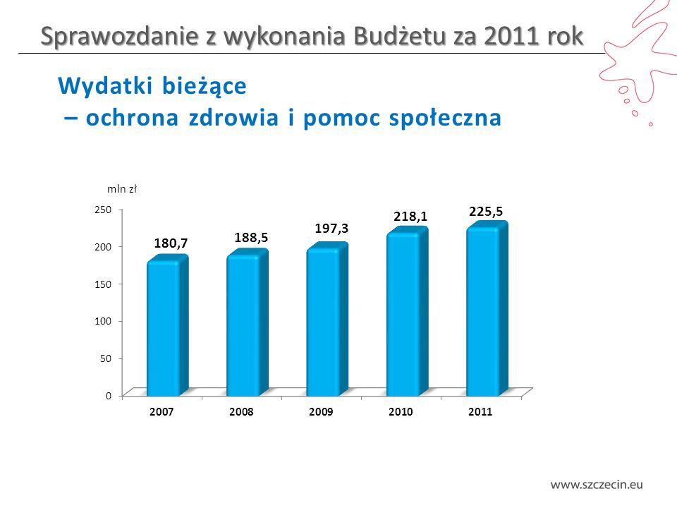 Sprawozdanie z wykonania Budżetu za 2011 rok Wydatki bieżące – ochrona zdrowia i pomoc społeczna