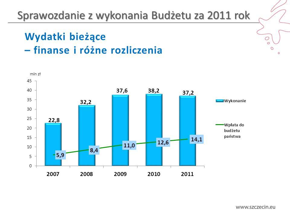 Sprawozdanie z wykonania Budżetu za 2011 rok Wydatki bieżące – finanse i różne rozliczenia