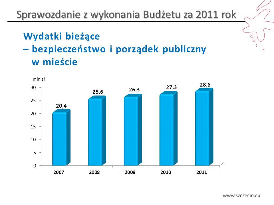 Sprawozdanie z wykonania Budżetu za 2011 rok Wydatki bieżące – bezpieczeństwo i porządek publiczny w mieście