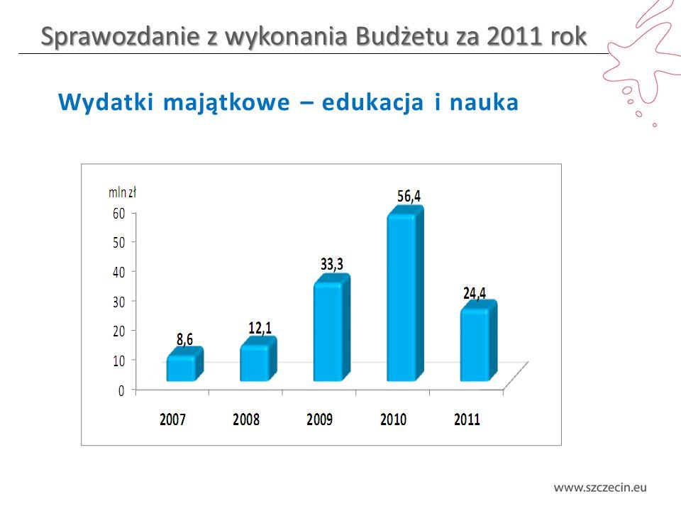 Sprawozdanie z wykonania Budżetu za 2011 rok Wydatki majątkowe – edukacja i nauka