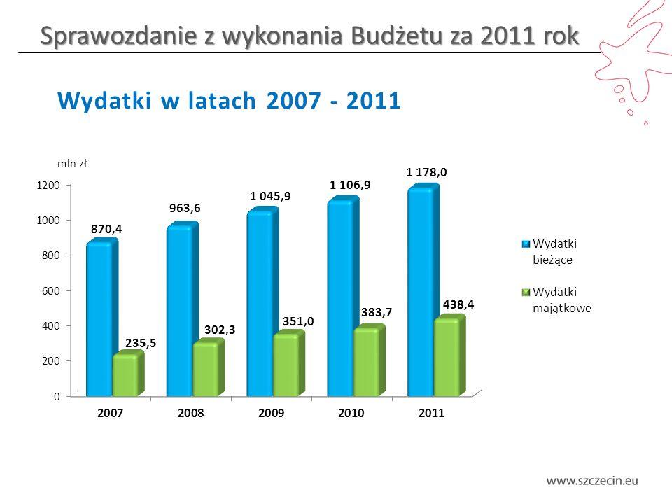 Sprawozdanie z wykonania Budżetu za 2011 rok Wydatki w latach 2007 - 2011