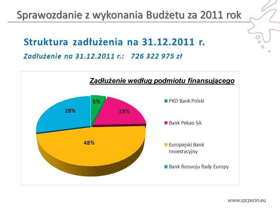 Sprawozdanie z wykonania Budżetu za 2011 rok Dochody bieżące – struktura wykonania