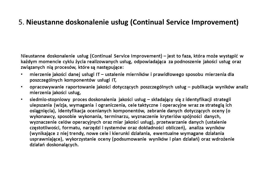 5. Nieustanne doskonalenie usług (Continual Service Improvement) Nieustanne doskonalenie usług (Continual Service Improvement) – jest to faza, która m