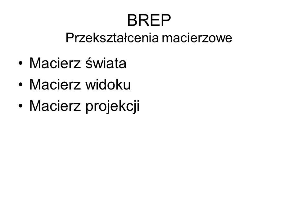BREP Przekształcenia macierzowe Macierz świata Macierz widoku Macierz projekcji