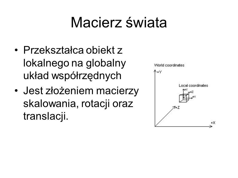 Macierz świata Przekształca obiekt z lokalnego na globalny układ współrzędnych Jest złożeniem macierzy skalowania, rotacji oraz translacji.