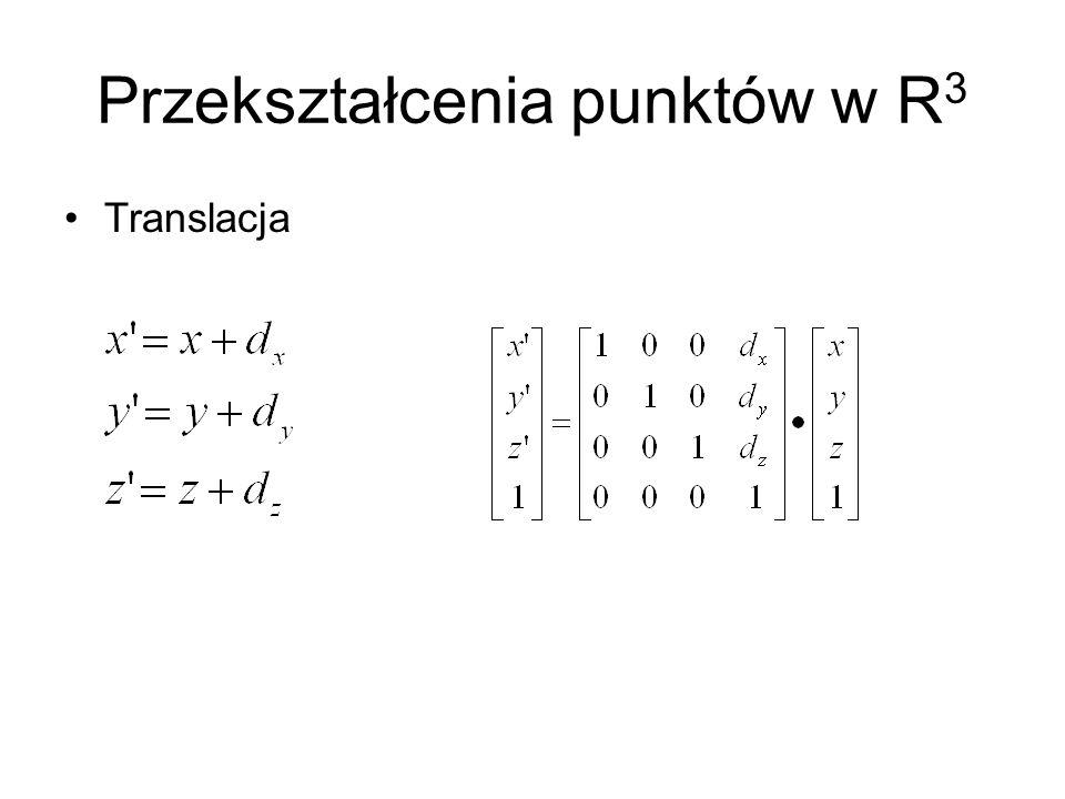 Przekształcenia punktów w R 3 Translacja