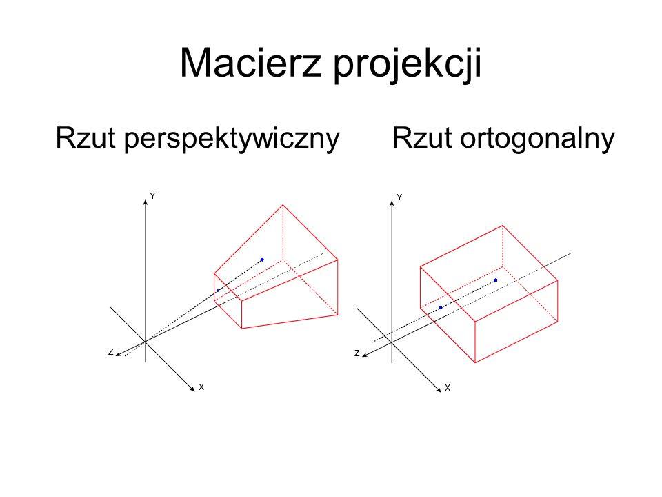 Macierz projekcji Rzut perspektywicznyRzut ortogonalny