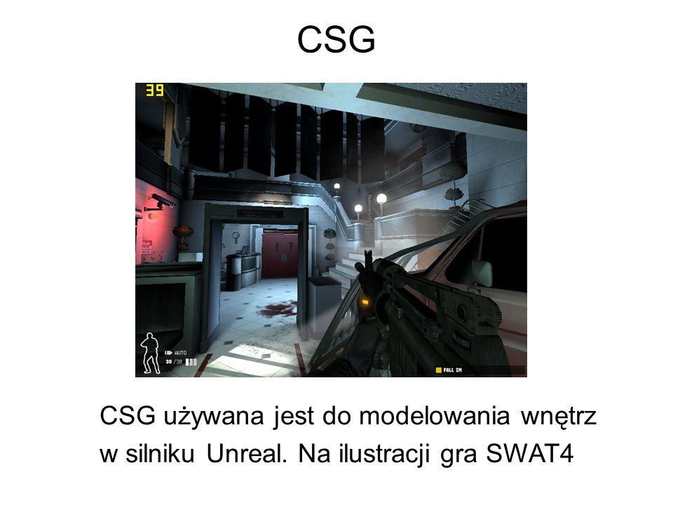 CSG CSG używana jest do modelowania wnętrz w silniku Unreal. Na ilustracji gra SWAT4