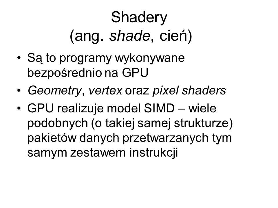 Shadery (ang. shade, cień) Są to programy wykonywane bezpośrednio na GPU Geometry, vertex oraz pixel shaders GPU realizuje model SIMD – wiele podobnyc