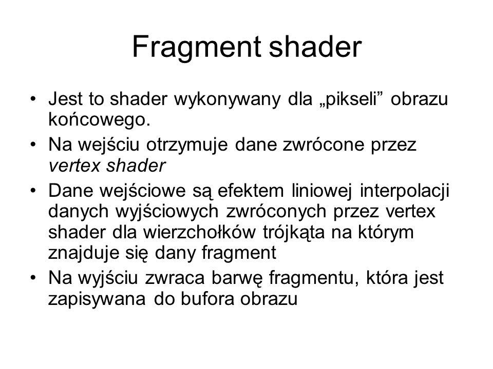 """Fragment shader Jest to shader wykonywany dla """"pikseli"""" obrazu końcowego. Na wejściu otrzymuje dane zwrócone przez vertex shader Dane wejściowe są efe"""
