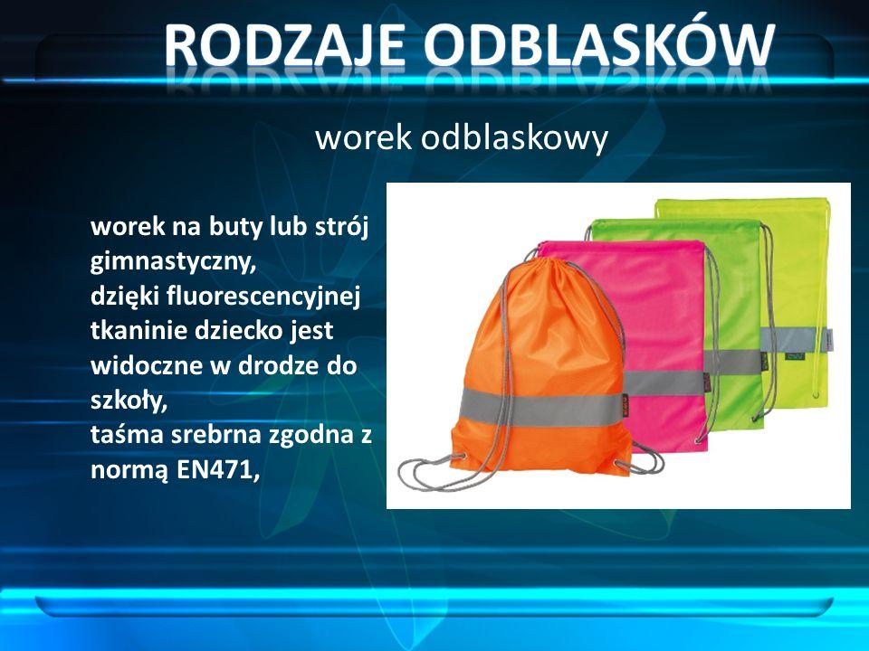 worek odblaskowy worek na buty lub strój gimnastyczny, dzięki fluorescencyjnej tkaninie dziecko jest widoczne w drodze do szkoły, taśma srebrna zgodna z normą EN471,