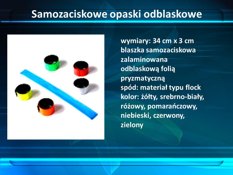 Samozaciskowe opaski odblaskowe wymiary: 34 cm x 3 cm blaszka samozaciskowa zalaminowana odblaskową folią pryzmatyczną spód: materiał typu flock kolor: żółty, srebrno-biały, różowy, pomarańczowy, niebieski, czerwony, zielony