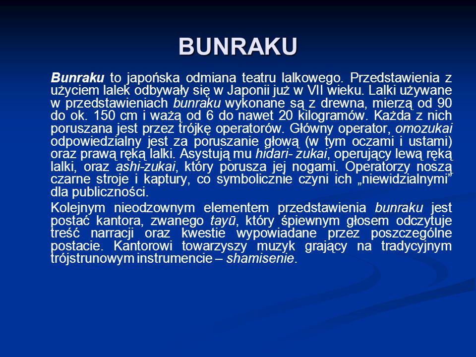 BUNRAKU Bunraku to japońska odmiana teatru lalkowego.