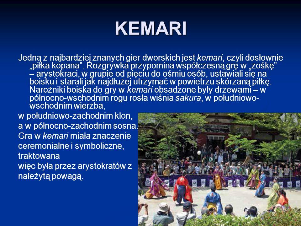 """KEMARI Jedną z najbardziej znanych gier dworskich jest kemari, czyli dosłownie """"piłka kopana ."""