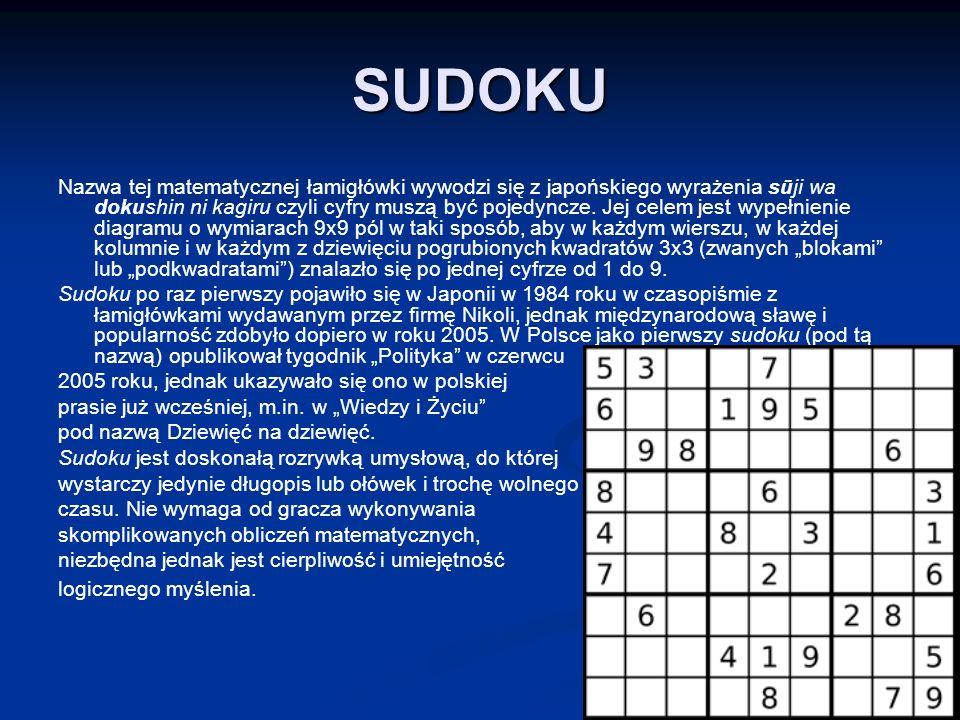 SUDOKU Nazwa tej matematycznej łamigłówki wywodzi się z japońskiego wyrażenia sūji wa dokushin ni kagiru czyli cyfry muszą być pojedyncze.