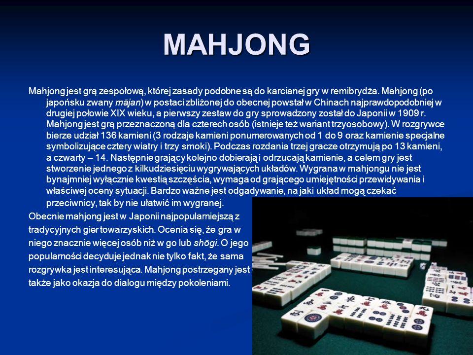 MAHJONG Mahjong jest grą zespołową, której zasady podobne są do karcianej gry w remibrydża.