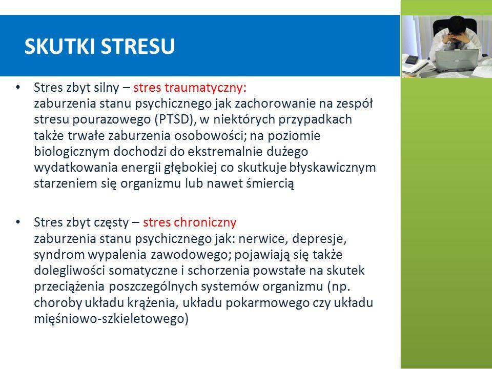 SKUTKI STRESU Stres zbyt silny – stres traumatyczny: zaburzenia stanu psychicznego jak zachorowanie na zespół stresu pourazowego (PTSD), w niektórych przypadkach także trwałe zaburzenia osobowości; na poziomie biologicznym dochodzi do ekstremalnie dużego wydatkowania energii głębokiej co skutkuje błyskawicznym starzeniem się organizmu lub nawet śmiercią Stres zbyt częsty – stres chroniczny zaburzenia stanu psychicznego jak: nerwice, depresje, syndrom wypalenia zawodowego; pojawiają się także dolegliwości somatyczne i schorzenia powstałe na skutek przeciążenia poszczególnych systemów organizmu (np.