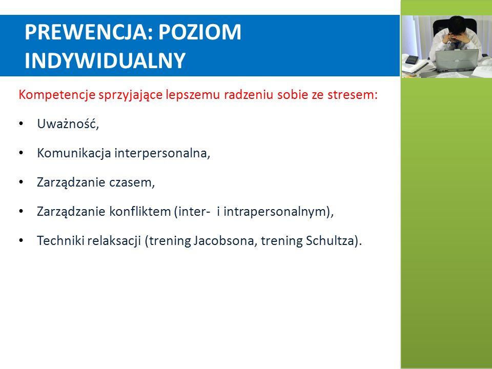 PREWENCJA: POZIOM INDYWIDUALNY Kompetencje sprzyjające lepszemu radzeniu sobie ze stresem: Uważność, Komunikacja interpersonalna, Zarządzanie czasem, Zarządzanie konfliktem (inter- i intrapersonalnym), Techniki relaksacji (trening Jacobsona, trening Schultza).