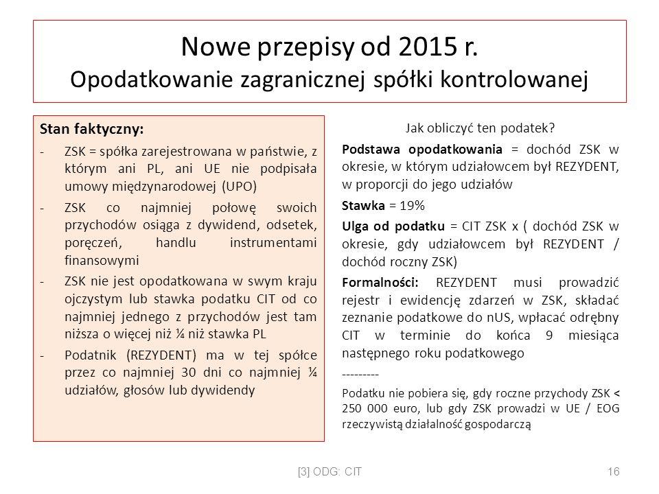 Nowe przepisy od 2015 r.