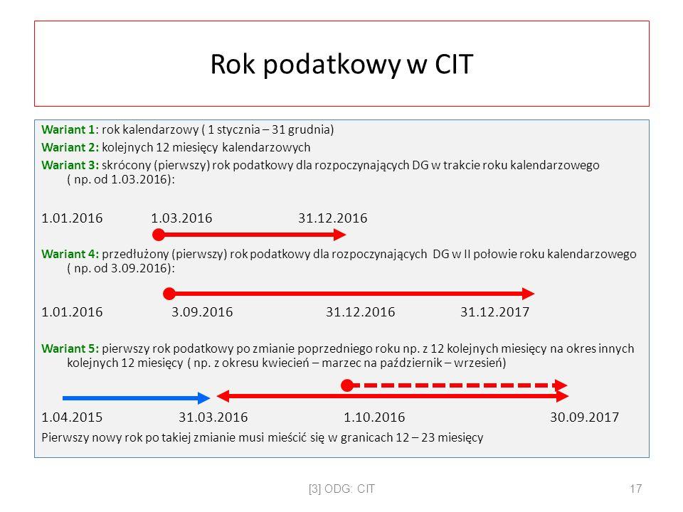Rok podatkowy w CIT Wariant 1: rok kalendarzowy ( 1 stycznia – 31 grudnia) Wariant 2: kolejnych 12 miesięcy kalendarzowych Wariant 3: skrócony (pierwszy) rok podatkowy dla rozpoczynających DG w trakcie roku kalendarzowego ( np.