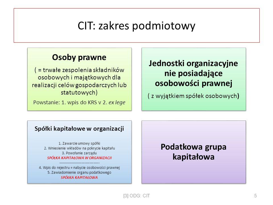 CIT: zakres podmiotowy Osoby prawne ( = trwałe zespolenia składników osobowych i majątkowych dla realizacji celów gospodarczych lub statutowych) Powstanie: 1.