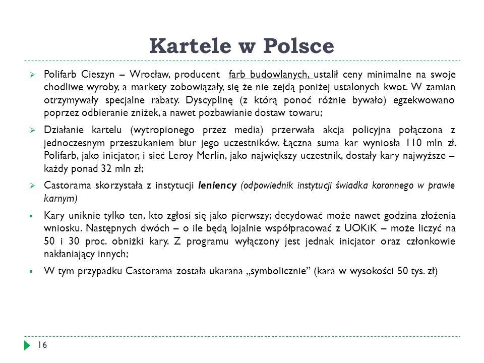 Kartele w Polsce  Polifarb Cieszyn – Wrocław, producent farb budowlanych, ustalił ceny minimalne na swoje chodliwe wyroby, a markety zobowiązały, się że nie zejdą poniżej ustalonych kwot.