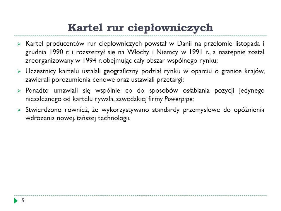 Kartel rur ciepłowniczych  Kartel producentów rur ciepłowniczych powstał w Danii na przełomie listopada i grudnia 1990 r.