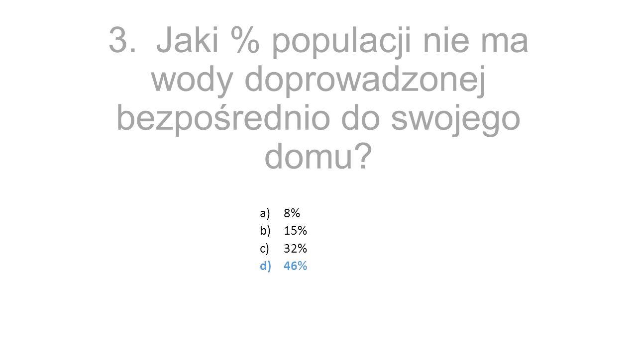 3.Jaki % populacji nie ma wody doprowadzonej bezpośrednio do swojego domu a)8% b)15% c)32% d)46%
