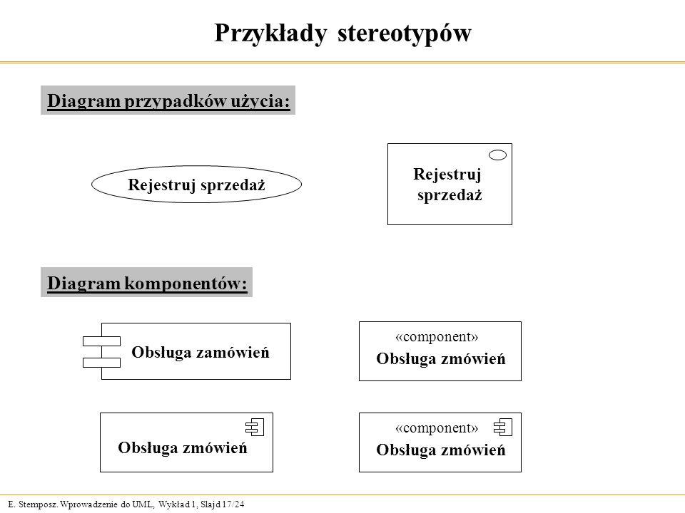 E. Stemposz. Wprowadzenie do UML, Wykład 1, Slajd 17/24 Przykłady stereotypów Diagram przypadków użycia: Rejestruj sprzedaż Rejestruj sprzedaż Diagram