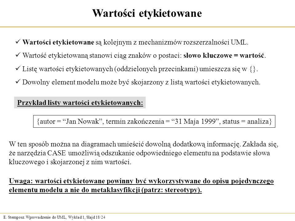 E. Stemposz. Wprowadzenie do UML, Wykład 1, Slajd 18/24 Wartości etykietowane Wartości etykietowane są kolejnym z mechanizmów rozszerzalności UML. War