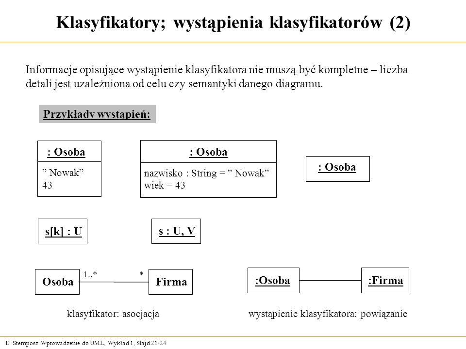 E. Stemposz. Wprowadzenie do UML, Wykład 1, Slajd 21/24 Klasyfikatory; wystąpienia klasyfikatorów (2) Informacje opisujące wystąpienie klasyfikatora n