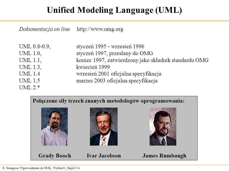 E. Stemposz. Wprowadzenie do UML, Wykład 1, Slajd 3/24 UML 0.8-0.9, styczeń 1995 - wrzesień 1996 UML 1.0, styczeń 1997, przesłany do OMG UML 1.1, koni