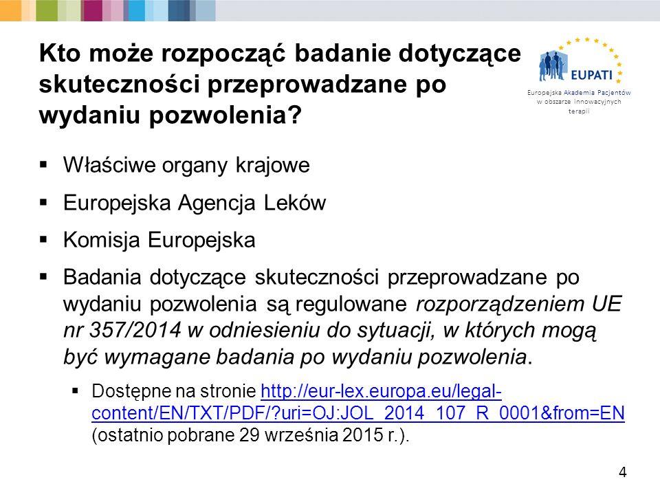Europejska Akademia Pacjentów w obszarze innowacyjnych terapii  Właściwe organy krajowe  Europejska Agencja Leków  Komisja Europejska  Badania dotyczące skuteczności przeprowadzane po wydaniu pozwolenia są regulowane rozporządzeniem UE nr 357/2014 w odniesieniu do sytuacji, w których mogą być wymagane badania po wydaniu pozwolenia.
