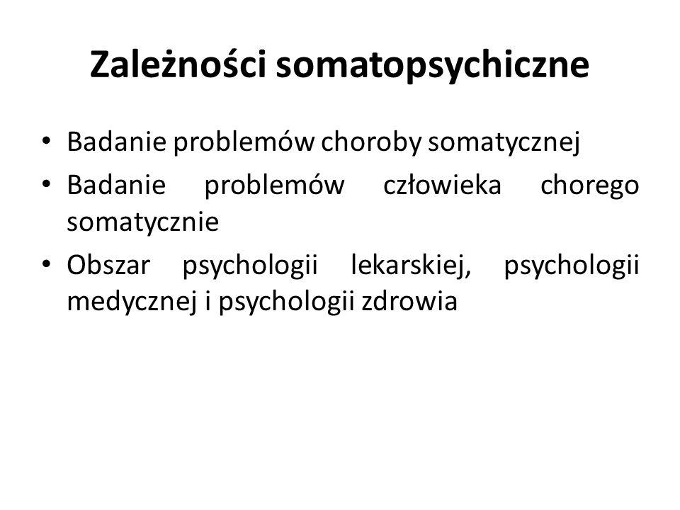 Zależności somatopsychiczne Badanie problemów choroby somatycznej Badanie problemów człowieka chorego somatycznie Obszar psychologii lekarskiej, psychologii medycznej i psychologii zdrowia