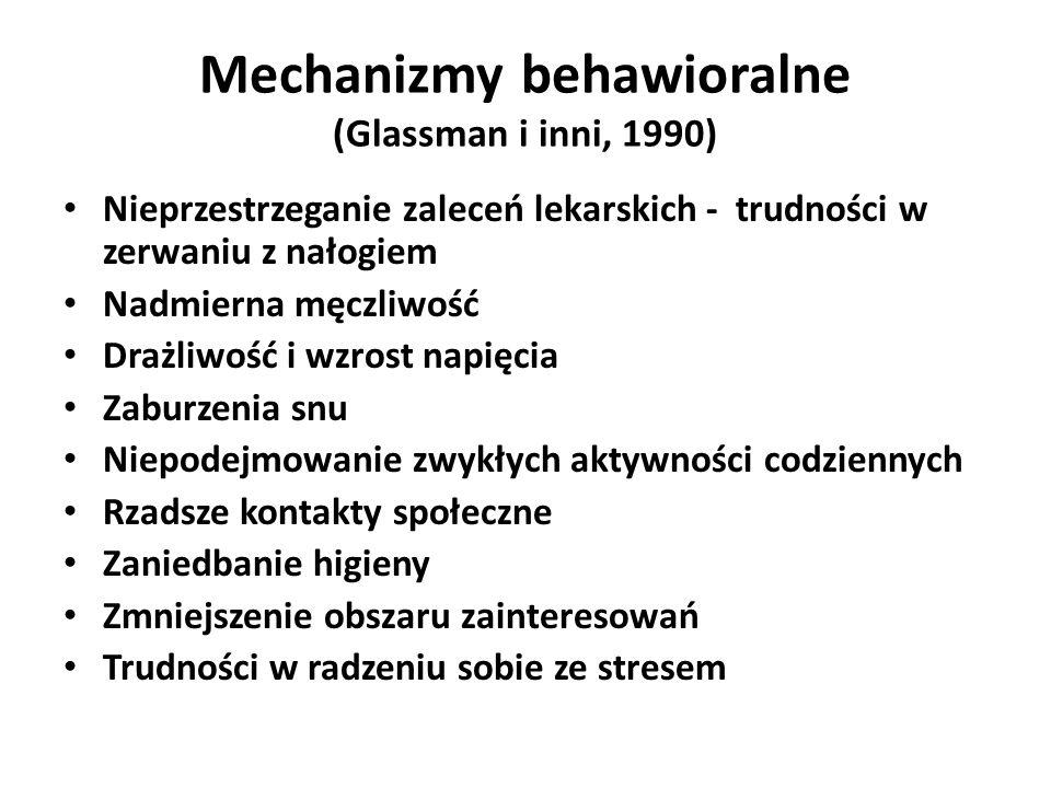 Mechanizmy behawioralne (Glassman i inni, 1990) Nieprzestrzeganie zaleceń lekarskich - trudności w zerwaniu z nałogiem Nadmierna męczliwość Drażliwość i wzrost napięcia Zaburzenia snu Niepodejmowanie zwykłych aktywności codziennych Rzadsze kontakty społeczne Zaniedbanie higieny Zmniejszenie obszaru zainteresowań Trudności w radzeniu sobie ze stresem
