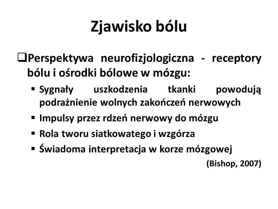 Zjawisko bólu  Perspektywa neurofizjologiczna - receptory bólu i ośrodki bólowe w mózgu:  Sygnały uszkodzenia tkanki powodują podrażnienie wolnych zakończeń nerwowych  Impulsy przez rdzeń nerwowy do mózgu  Rola tworu siatkowatego i wzgórza  Świadoma interpretacja w korze mózgowej (Bishop, 2007)