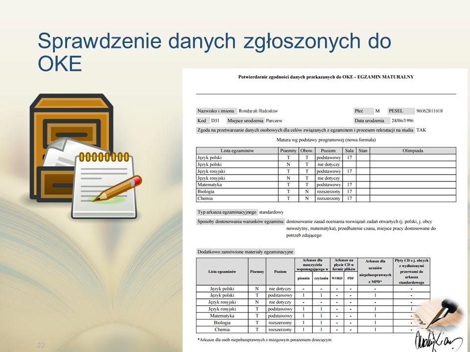 22 Sprawdzenie danych zgłoszonych do OKE