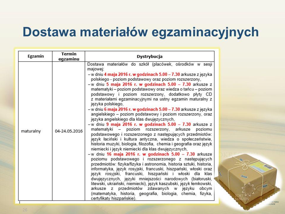 26 Dostawa materiałów egzaminacyjnych