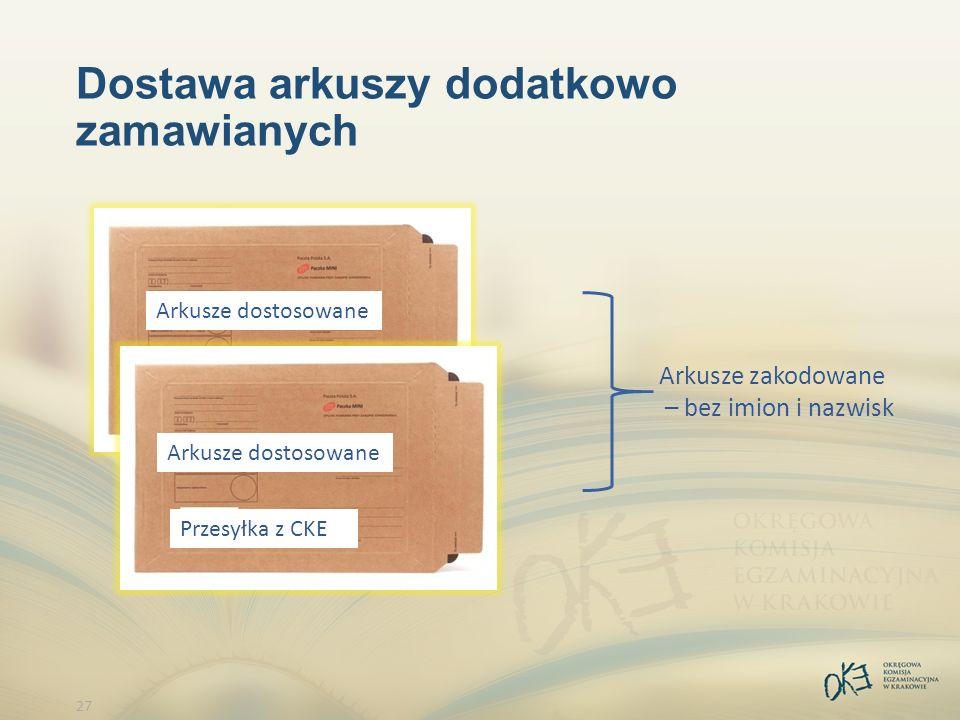 27 Dostawa arkuszy dodatkowo zamawianych Arkusze zakodowane – bez imion i nazwisk Przesyłka z CKE Arkusze dostosowane