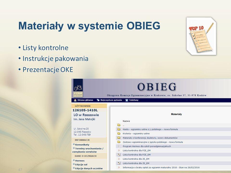 47 Materiały w systemie OBIEG LO w Rzeszowie Im. Jana Matejki Ul.