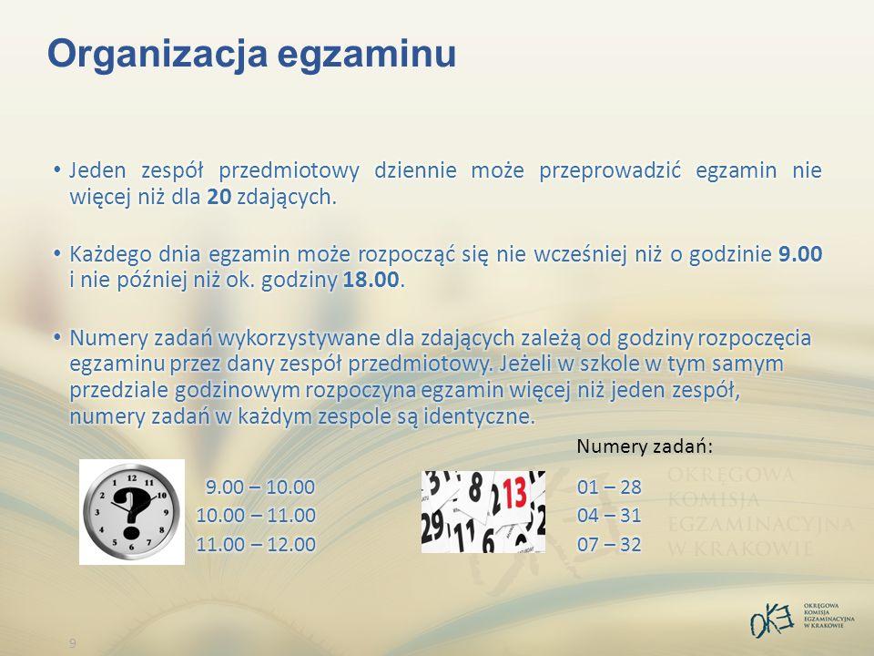 9 Organizacja egzaminu Numery zadań: